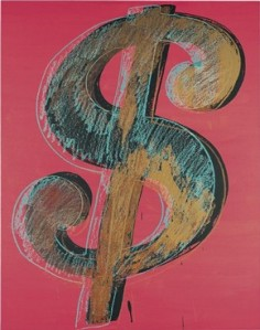 """Andy Warhol, """"Dollar Sign"""", 1981. Synthetic polymer paints and silk-screen inks on canvas. Private collection. Photograph Christie's Images 2011 © The Andy Warhol Foundation for the Visual Arts"""