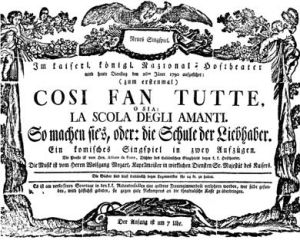 """""""Così Fan Tutte"""" fue estrenada originalmente en Viena, en 1790"""