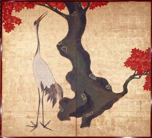 "Pareja de biombos de dos hojas, ""Grulla"", de Ogata Korin (1658-1716"